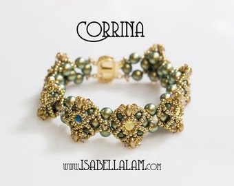 CORRINA RIZO Rose Montees and Chattons Stones with SuperDuo Beadwork Bracelet tutorial instructions for personal use only