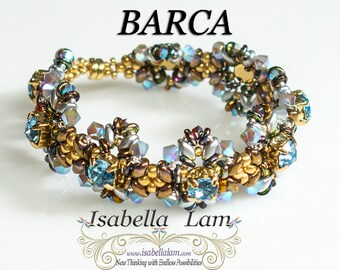 BARCA Swarovski Round Square set in stone and SuperDuo Bracelet tutorial Pdf for personal use only