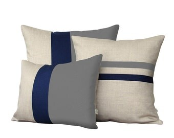 Colorblock Stripe Pillow Set - Gray & Navy Striped Pillow and Color Block Pillow Set by JillianReneDecor (Set of 3) - Grey