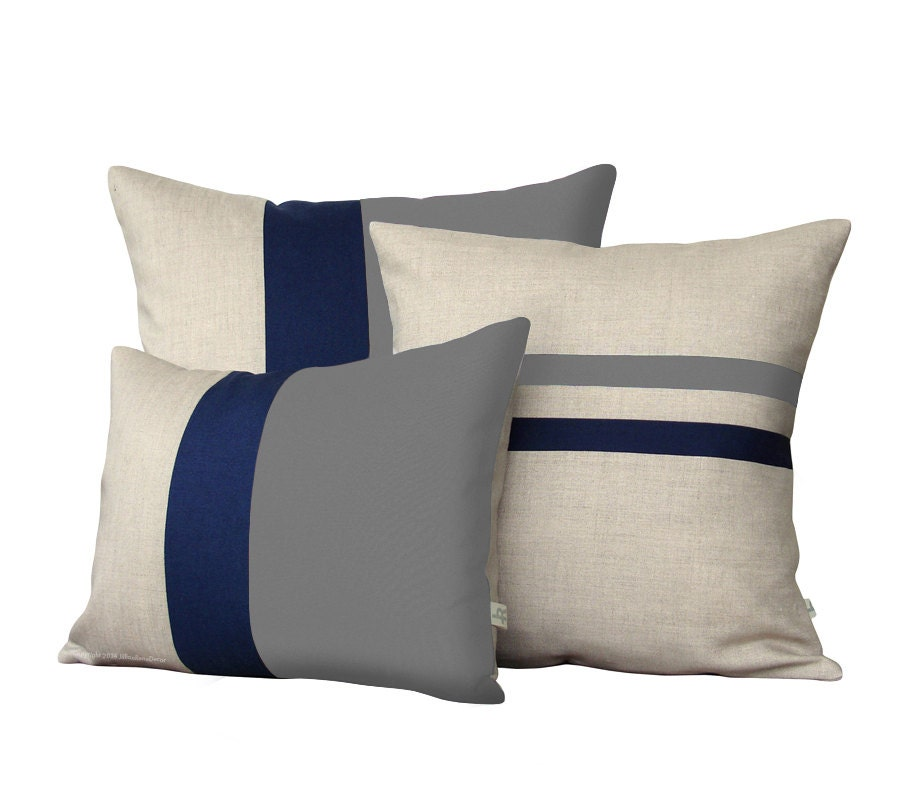 Colorblock Stripe Pillow Set Gray Amp Navy Striped Pillow And