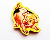 PIG Brooch - Lapel Pin / Upcycled 1960s Wood Puzzle Piece / Piglet Brooch / Yellow - Tan - Black Wood Brooch / Gift Under 15