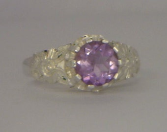 Purple Amethyst Flower of the Angels Handmade Sterling Silver Ladies Ring size 7
