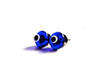 Cobalt Blue Evil Eye Stud Earrings