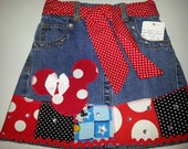 Clearance sale girls applique Minnie mouse denim skirt size 4 girls custom handmade clothes