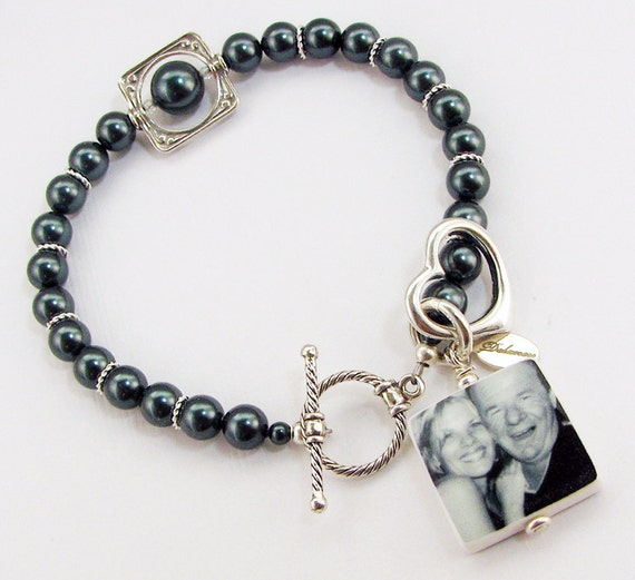 Pearl Charm Bracelet with a Sterling Heart Charm - Small - Photo Jewelry - P3B7