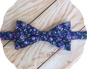 Floral Navy and Purple Bow Tie >> Father Son Mens Boys Fathers Day Prom Graduation Wedding Spring Gift Lavender Flowers Blue Groomsmen