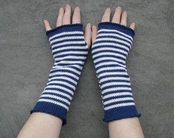Arm Warmers Mittens Fingerless Striped Gloves Mitaines Pure Merino Navy Blue and White Unisex Fashion