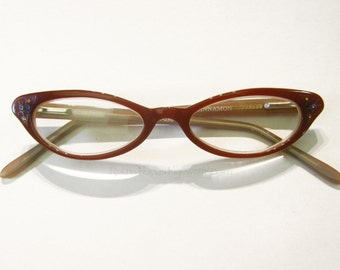 Kitten Cat Eye Eyeglass Frames Vintage 90's NOS Auburn Caramel Brown Back Thennish Vintage