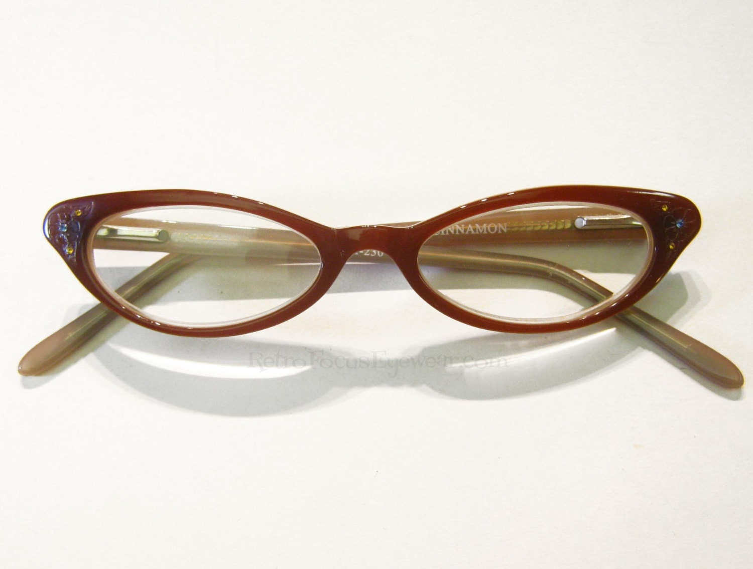 Kitten Cat Eye Eyeglass Frames Vintage 90s NOS Auburn