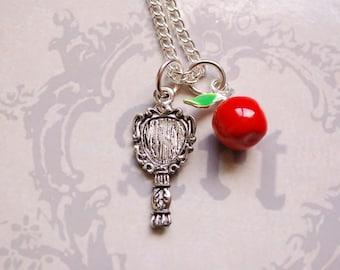 Snow white mirror necklace