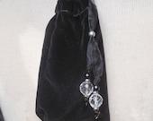 "Reversible Black Velvet / Silver Brocade Pouch -Large Size 15 x 10 cm. (6"" x 4"") - OlyTeam"