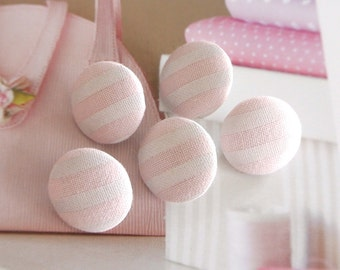 Fabric Buttons, Baby Pastel Pink White Stripes Covered Fabric Buttons, White Pink Stripes Nautical Fridge Magnets, CHOOSE SIZE 5's