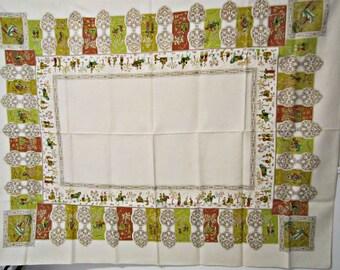 Vintage Tablecloth Cotton Linen Tablecloth. Bouquets of Flowers.