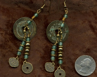 Vintage Chinese I Ching Coins and Beads Earrings