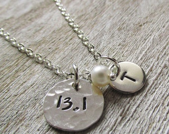 Half Marathon Necklace - 13.1 Necklace - Running Jewelry - Personalized Necklace - Initial Necklace