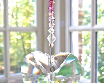 NEW - Clear Swarovski Heart Pendant on a Colorful Strand of 34 Blended Colors, Entirely Swarovski, 40mm Heart Suncatcher, Window Prism