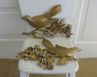 Vintage Birds Wall Art Hanging Spring Flower Gold Plastic Hollywood Regency