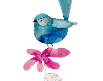 Splendid Fairy Wren... Art Print/Giclee Print of Watercolour Illustration (A4 size).