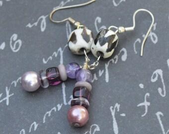 Handmade Bone Batik Purple Glass Pearls Dangling Earrings