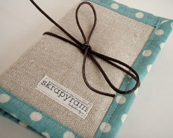 Linen Sewing Needle Book with Blue Polka Dot Trim - Embroidery Needle Holder - Sewing Needle Case