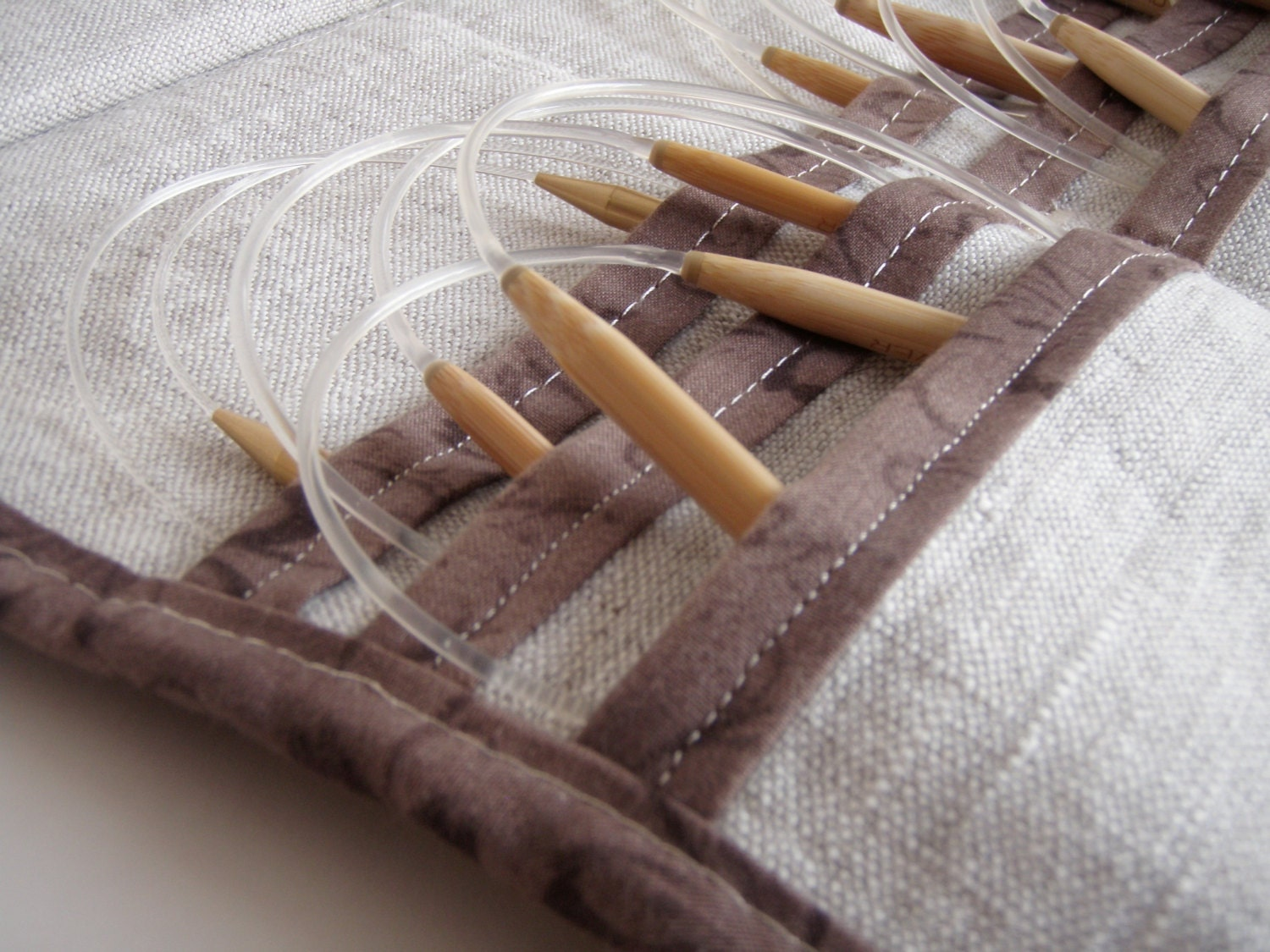 Circular Knitting Needle Case : Circular knitting needle case linen with classic brown
