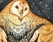 OWL MOTHER ※ Winter Snow Triple Goddess Hands Shaman Moon Snow Tree Hands Art Print