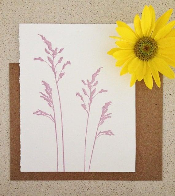 SALE! Lavender grasses letterpress note card