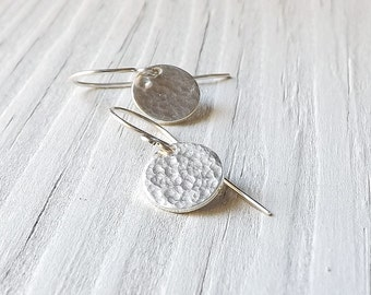 Small Circle Earrings Silver Hammered Round Disk Charm Dangle Earring Simple Eco Friendly Geometric Womens Jewelry Gift for her