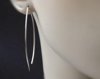 Silver Hoop Earrings, Leaf Hoops, Almond Hoop, Original Large Fish Hoops Statement Long Threader Earring Jewelry Gift