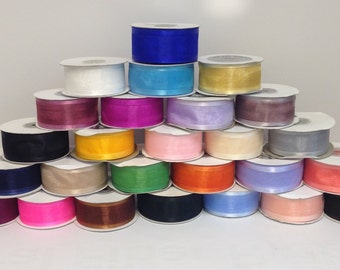 """Satin Edge Organza Ribbon-10 colors of 1.5""""x 25 yds with FREE SHIPPING"""