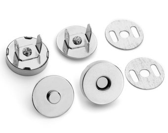 "30 Sets Magnetic Purse Snaps - Closures 18mm 3/4"" Nickel - Free Shipping (MAGNET SNAP MAG-116)"