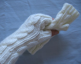 White Hand Made Fingerless Gloves For Her