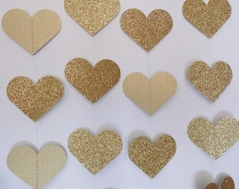 Gold Glitter Heart Garland, 8' Paper Heart Garland, Wedding Reception Decor, Bridal Shower Decoration