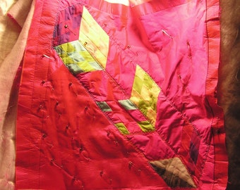 Vintage Partially Completer Quilt Wall Hanging Lap Robe Child's Blanket Hot Pink Yellow Green Cube Design