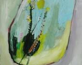 Fluer Jaune, Original oil painting on artisan paper