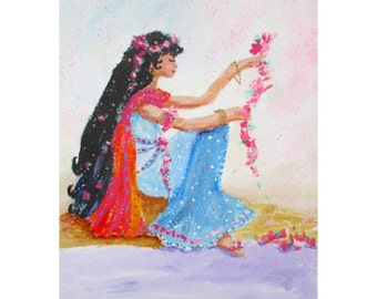 Original Painting * GIRL WITH FLOWERS * Small Art Format * Art By Rodriguez