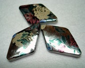 Silver Foil Floral Acrylic Diamond Beads (Qty 3) - B2635