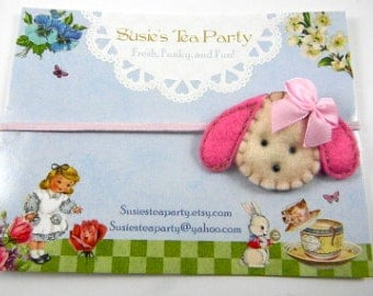 Hot Pink Puppy Headband-Skinny Elastic Headband-Easter Headband-felt headband-baby headband