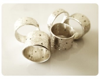 15mm wide Hammered, dimpled and texured with holes silver  RING (size 6 to 13)