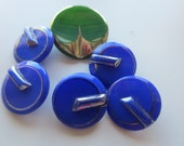 Vintage Button- 6 beautiful Art Deco  cobalt and green with silver accents, very old, glass buttons ( jan 75)
