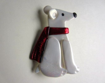 Polar Bear Pin with red scarf brooch