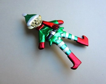 Santa's Christmas elf pin brooch