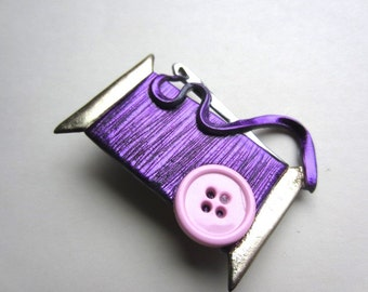 Sewing Needle and Thread Pin Brooch in Purple with pink button