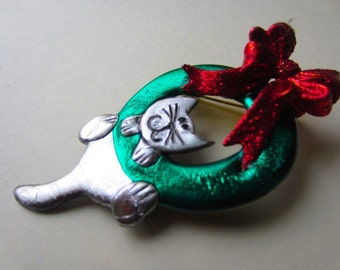 Cat Hanging on a Christmas Wreath with Red Bow Pin Brooch
