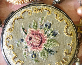 A Compact Statement-Antique Vintage Victoria Petit Point Compact Assemblage Necklace