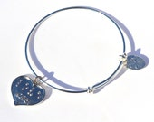 Love Braille Heart Expandable Bangle Silverplated