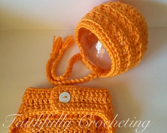 Newborn Bonnet.. Matching diaper cover... Orange set... Photo prop