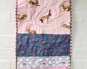 Quilted bassinet liner to fit Joolz Day Bassinet/Cot - pink linen and rabbit fabrics