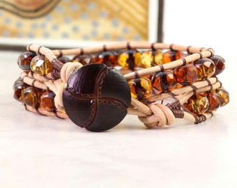 Topaz Wrap Bracelet Amber Jewelry Suede Wrap Bracelet Brown Wrap Bracelet Bohemian Jewelry Cognac Boho Jewelry Winter Fashion Accessory