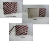 Personalized Clutches, Makeup Bags, Wristlets, Embroidered Initial, Made to Order, Your Choice of Fabrics & Styles